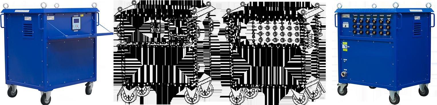 Wyżarzarki oporowe sześciokanałowe (6-kanałów) z regulatorami temperatur P62 do przeprowadzania obróbek cieplnych
